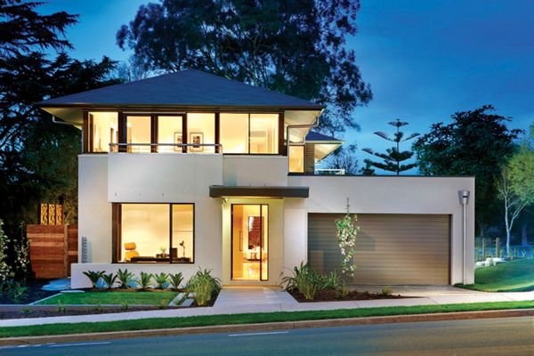 Casa moderna cu etaj, 4 dormitoare, birou si garaj atasat - proiect si imagini