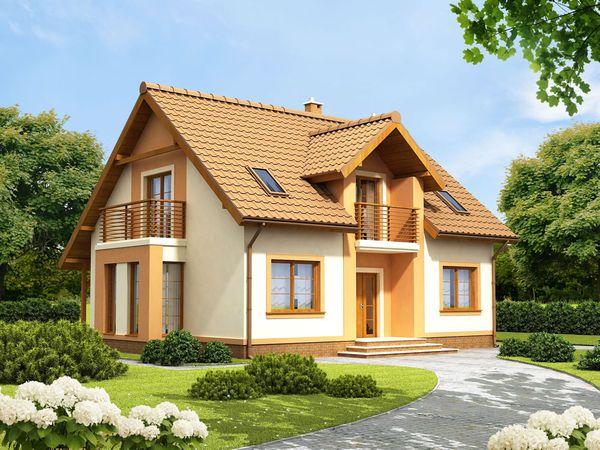 Casa cu mansarda, balcoane, bovindou si lucarna - proiect si imagini