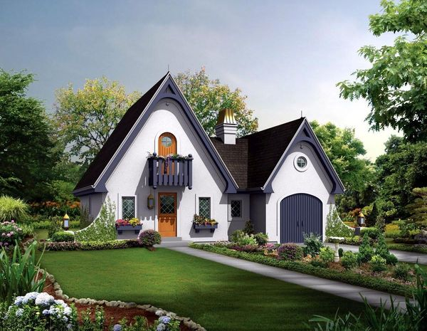 Casa mica cu garaj atasat si o gradina frumoasa - proiect si imagini