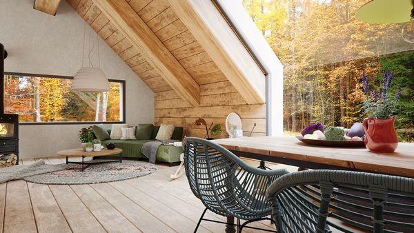 Casa din padure, o combinatie intre o cabana rustica din lemn si o casa moderna cu pereti din sticla