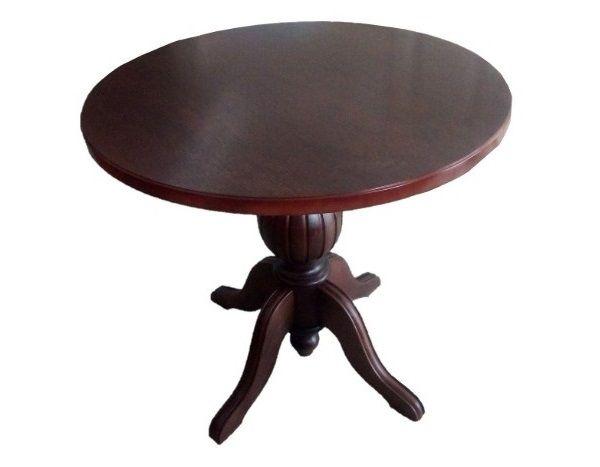 Masa rotunda cu picior central din lemn masiv, wenge
