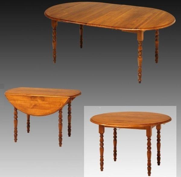 Masa rotunda extensibila, 2 extensii, laterale rabatabile, lemn masiv cires