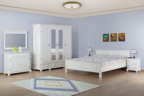 Mobila dormitor lemn masiv Seby, alb
