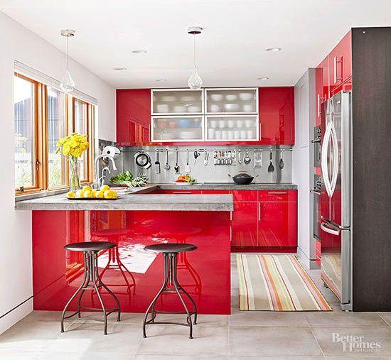 Cum sa folosesti rosul in designul interior al bucatariei - Galerie foto