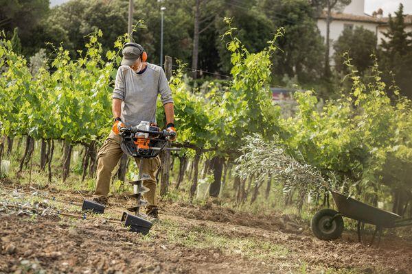 Doua motoburghie de pamant STIHL - generatie noua de echipamente pentru plantarea de toamna a copacilor