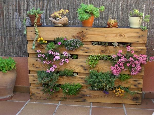 cum sa construiesti o mica gradina verticala recicland un palet din lemn. Black Bedroom Furniture Sets. Home Design Ideas