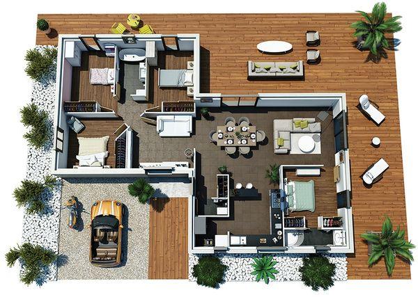 Case moderne fara etaj cu piscina si 1 pana la 4 for Proiect casa 100 mp fara etaj