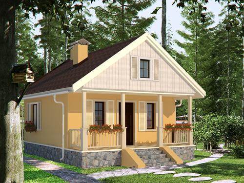 Proiect de casa mica, de 35 mp. O locuinta plina de farmec cu o camera, baie si bucatarie