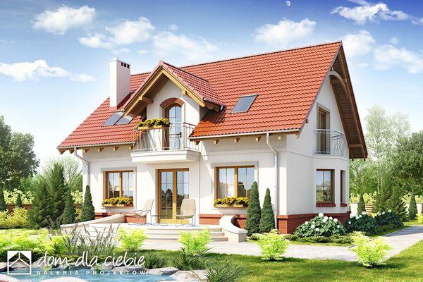 Proiect de casa cu mansarda, 3 dormitoare cu balcoane si o gradina fermecatoare
