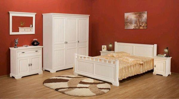 Mobila dormitor lemn masiv Cleopatra, alb