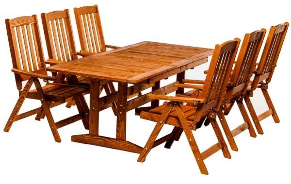 Mobiler de gradina din lemn masiv cu masa extensibila si scaune pliante