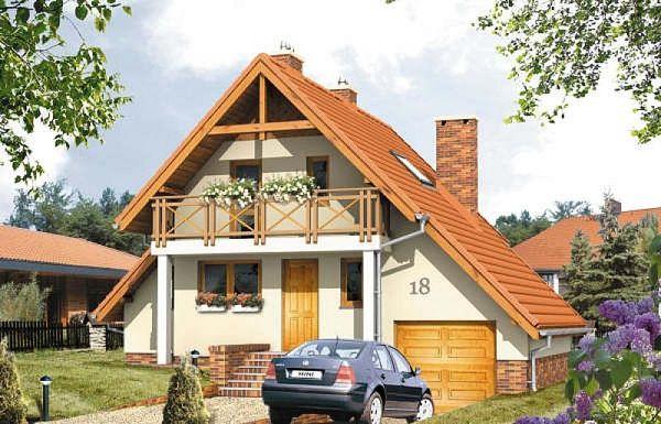 Vila mica si ieftina cu garaj si 2 dormitoare amenajate in mansarda - proiect si imagini