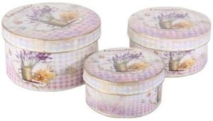 SET 3 CUTII METALICE ROTUNDE SHABBY CHIC, LAVANDA - SET 3 CUTII METALICE ROTUNDE SHABBY CHIC, LAVANDA