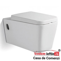 VAS WC SQUARE SUSPENDAT CU CAPAC SOFTCLOSE D 560X360X340 MM - VAS WC SQUARE SUSPENDAT CU CAPAC SOFTCLOSE D 560X360X340 MM
