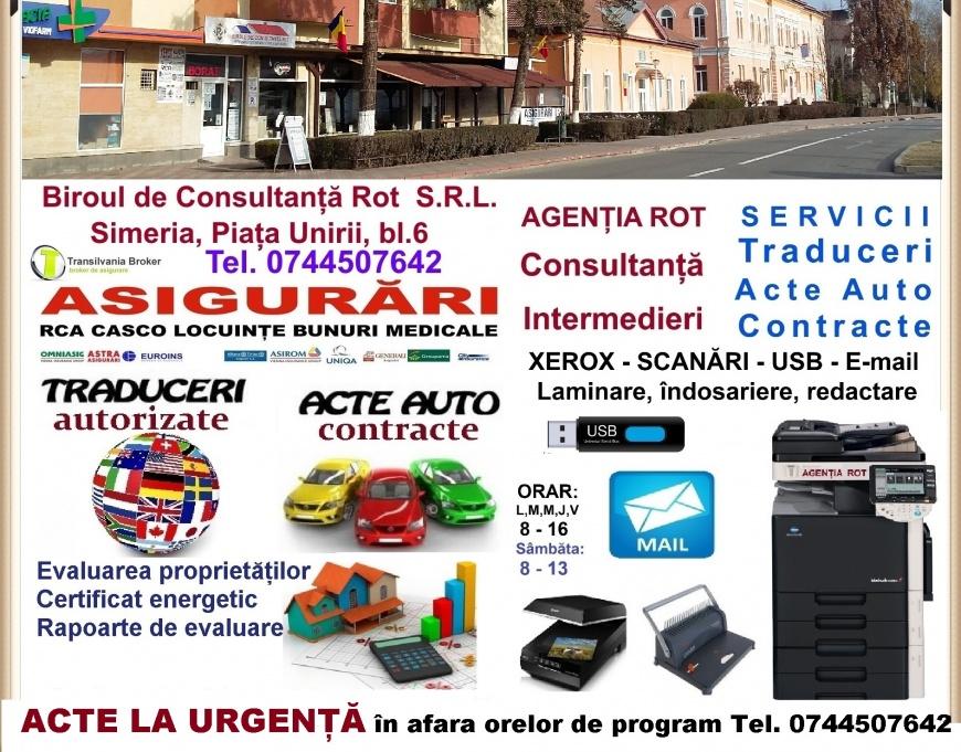AGENTIE DISPECERAT SERVICII CONSULTANTA ASIGURARI RCA SIMERIA AGENTIA ROT ACTE AUTO