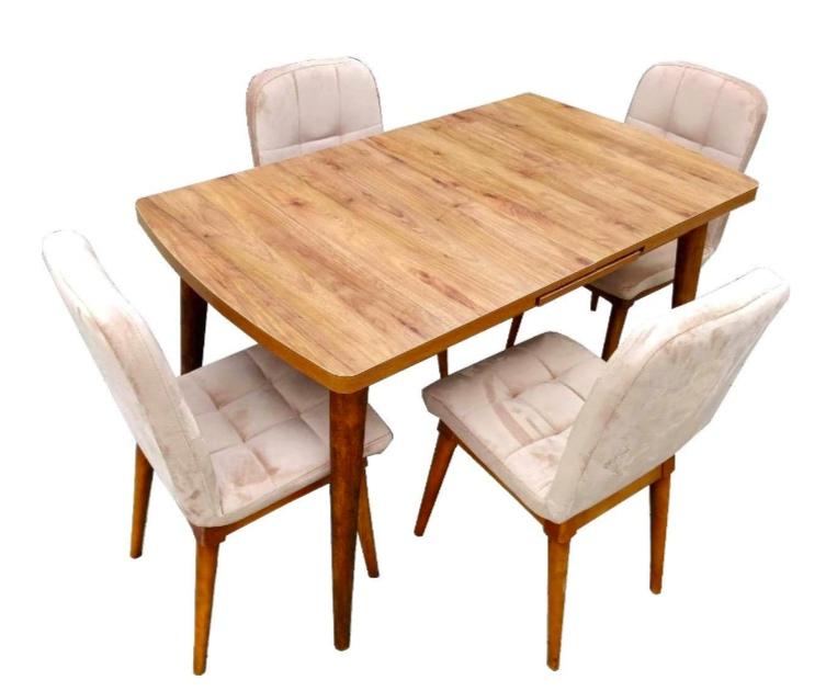 Set masa extensibila din MDF Natur cu 4 scaune moi captusite pentru living si bucatarie, Natur
