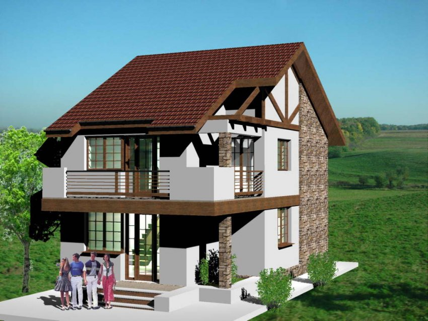 Proiect casa parter si etaj case si vile proiecte case for Casa clasica srl
