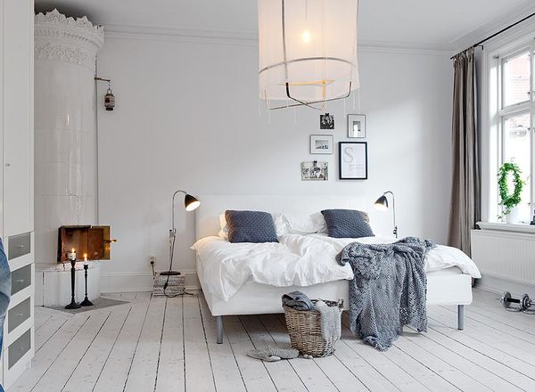Dormitor decorat in stil scandinav